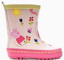 Half height Pink Peppa Pig girl's rubber rain boots shoes