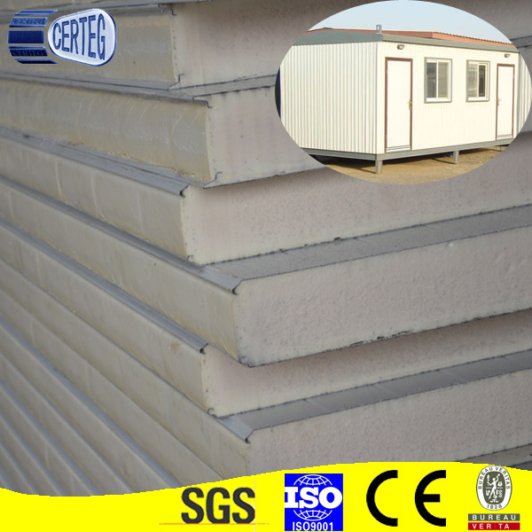 The material evenly quality storage used PU sandwich panel polyurethane foam PU building material