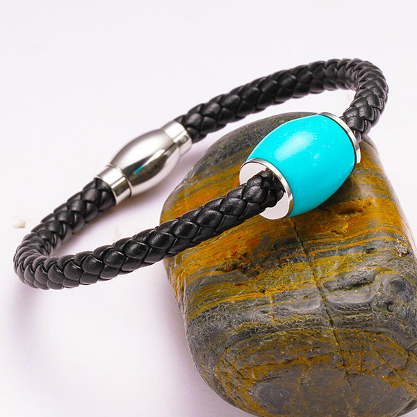 Green stone beads design fabric real leather bracelets