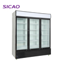 Supermarket free standing three door Showcase refrigerator for beverage beer