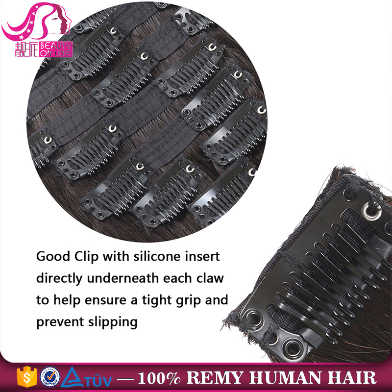 Ombre T1B/27 Clip Hair 18/20 inch in 10pcs/set Full Head Double Wefted 100% Human Remy Hair Deluxe Triple Clip In Lace Extension