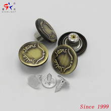 custom logo metal antique brass round jeans rubber core bottom nickel-free button cover