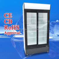 Double glass door drink refrigerator showcase sliding door beverage cooler