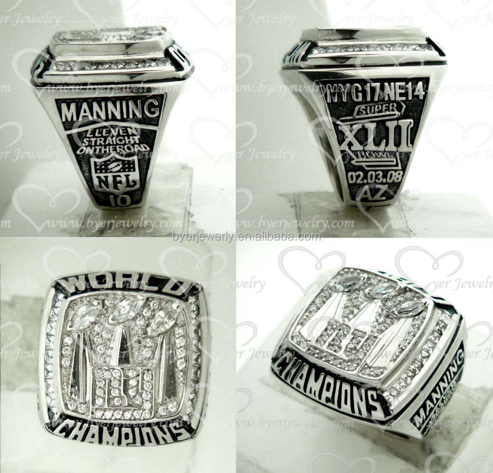 Available mould 2007 New York Giants Super Bowl White Gold Championship Ring Replica