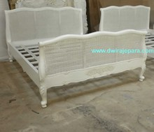 French Furniture Bedroom , Classic Louis Rattan Bed Furniture Jepara Indonesia