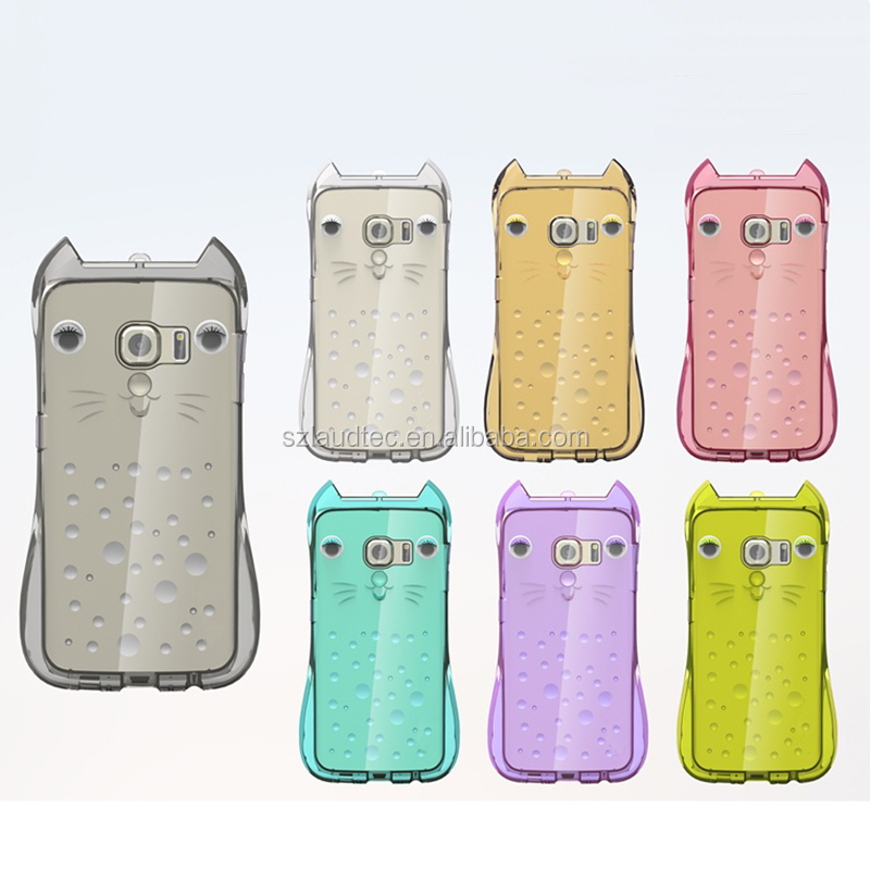 Girl Cute Cat TPU back cover case for Samsung Galaxy S6 edge with strap