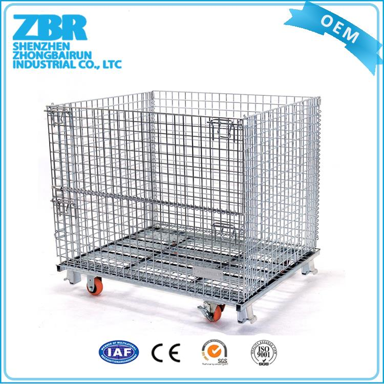 Selling metal wire frame storage cage with wooden pallet