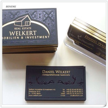 High End Popular Smooth Thick Custom Edge Gild Foil Suede Paper Business Name Cards Printing