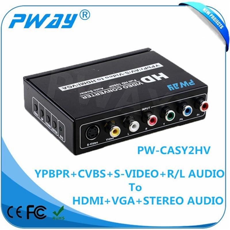 hot selling high quality AV+S-Video +YPBPR to HDMI +VGA converter
