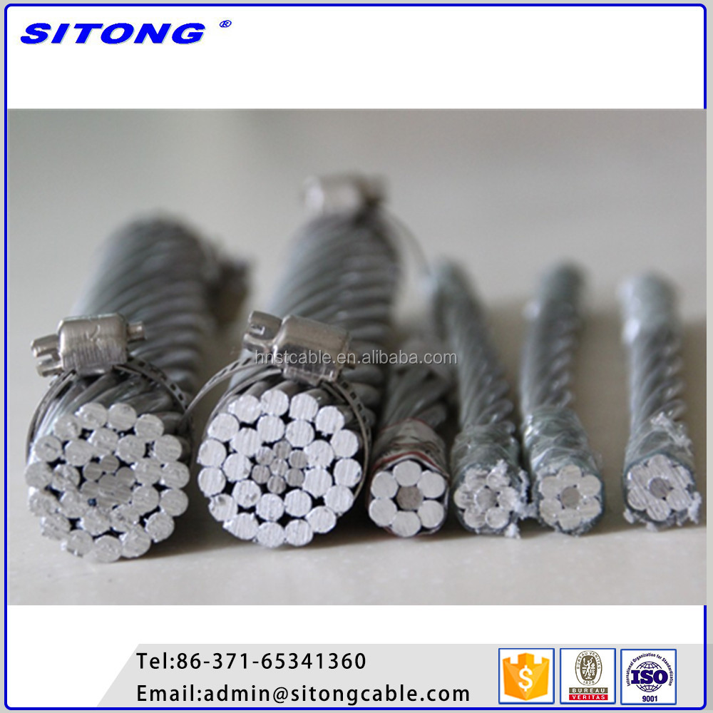 Aluminum conductor steel reinforced galvanized steel wire solid or stranding acsr cable