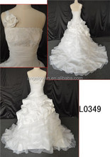 plus size front short and long back wedding dress/long tail A-line wedding dress of backless