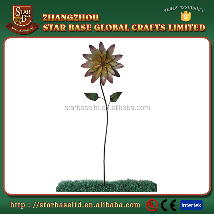 Special design OEM metal iron decorative sunflower garden stake