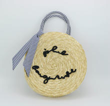 recycle straw handbag around with large bowknot
