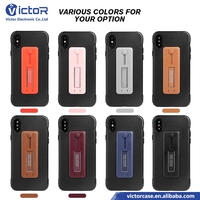 New factory mobile phone hard shockproof PC and TPU 2in1 cases for iphone X with metal ring with kickstand function