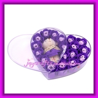 Wedding Favors Heart Shape Acrylic Gift Box with Bear Packaged 18pcs Purple Rose Soap