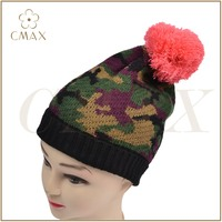 Camouflage jacquard acrylic classic lady fashion winter knitted hat beanie with pink pompom
