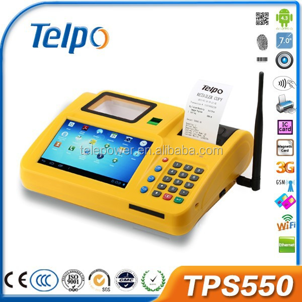 Telepower TPS550 Android Touch Pos Tablet with SIM Card with Fingerprint Scanner,QR Code Scanner