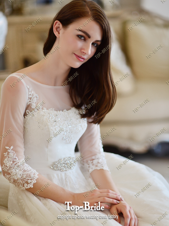 2015 Real Photos Elegant Lace A-line 3/4 Sleeves Wedding Dresses With Crystal Beaded Belt S313