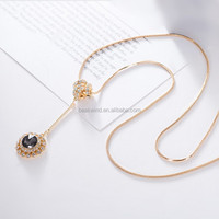 Costume jewelry gold plated crystal sweater necklace MY-BW-0377 geometric shape micro pave crystal long necklace fashion