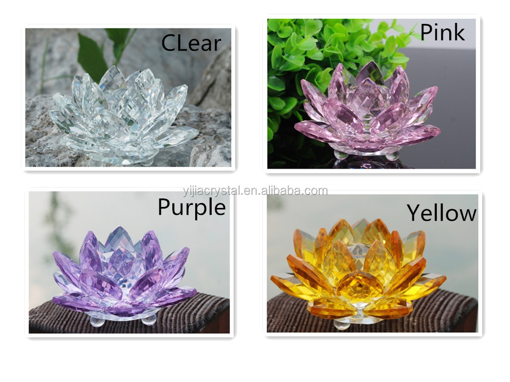 pink crystal lotus candleholder , lotus flower tealight holder