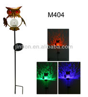 2013 Owl Solar Lights with metal pole and diameter 7.8cm crackle glass ball