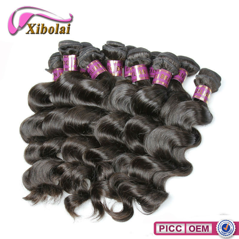 Fashion style 6A loose wave unprocessed real 100 virgin Brazilian remy human hair