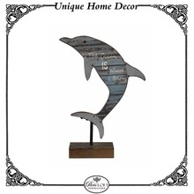 Cute Dolphin Wood Table Top For Child Display Stand