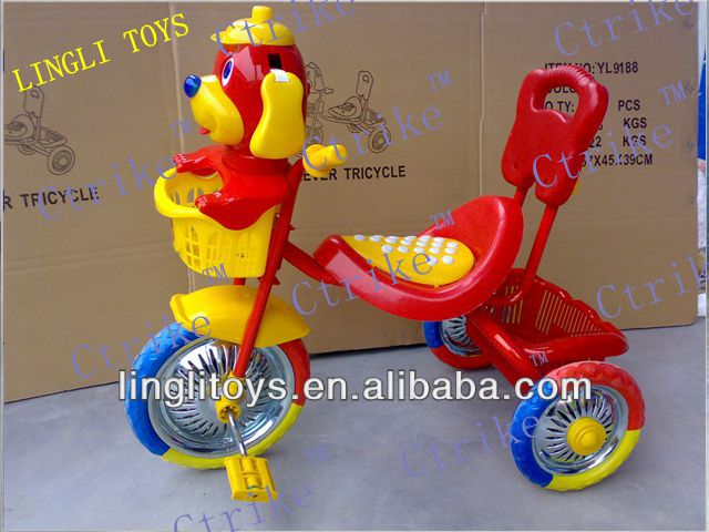 pinghu lingli children tricycle rubber wheels,baby pedal plastic tricycle