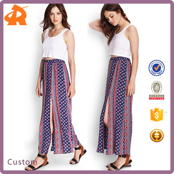 2017 hot selling new arrival ladies' vintage split skirt, high quality long maxi skirt wholesale OEM