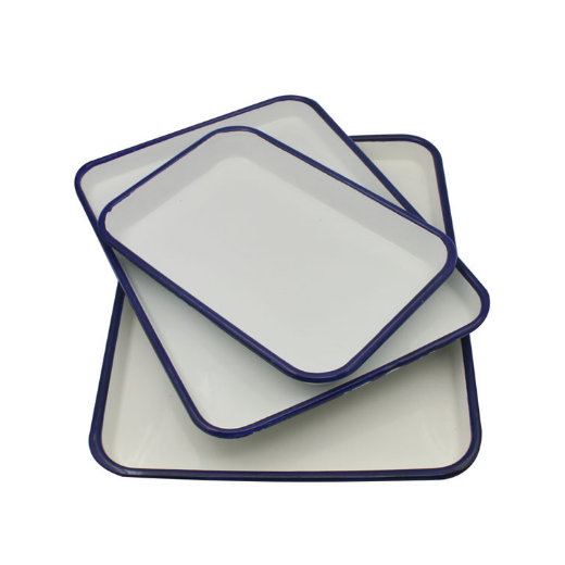 White solid color metal enamel tray for hospital lab chemistry industrial use with lid cover or no lid cover