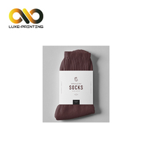 Customized logo design for socks towel household packing ivory paper sleeve packaging