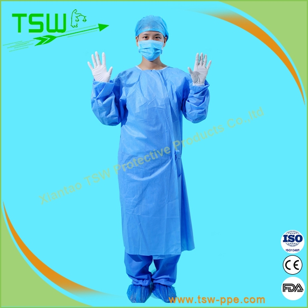 disposable knit cuff white/blue pp surgical/isolation gown
