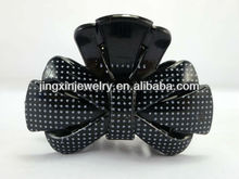 small white dot decorative plastic bow hair claw clip