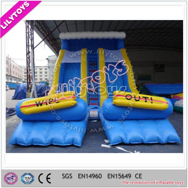 Durable blue two-lane inflatable water slide ,PVC inflatable slip for adult n kids