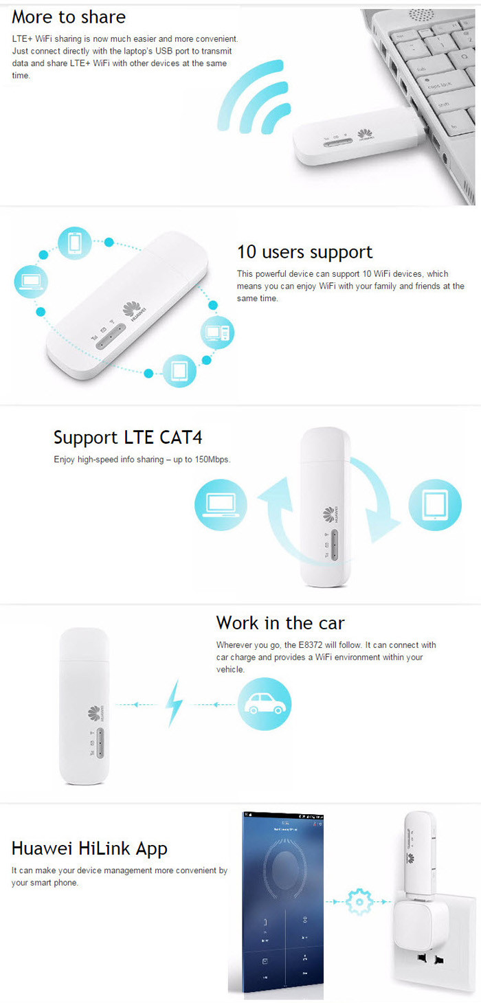 150Mbps 4G USB wifi modem E8372,E8372h-608,e8372h-153, dongle network card mobile broadband
