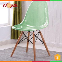 New modern design wooden legs colorful clear plastic leisure chairs