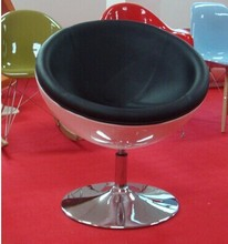 European style fiberglass swivel leather PU leisure half moon chair for sale