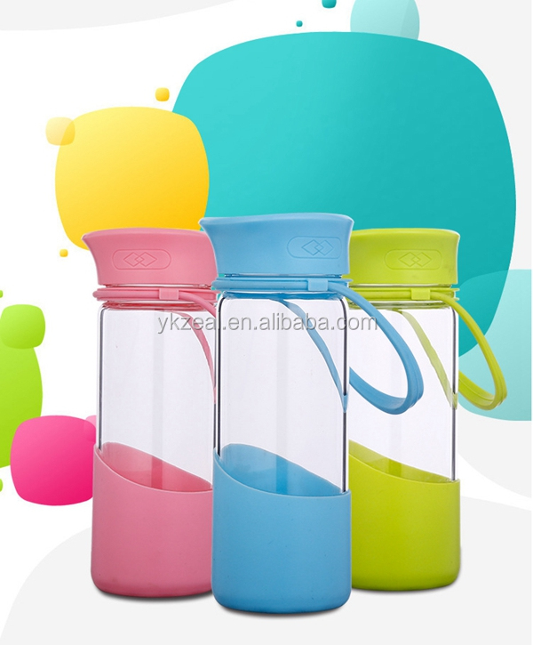 ZEAL DG1003 glass water bottle with silicone sleeve