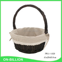 Lined handmade easter wicker basket with handle