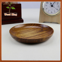 Factory Direct Sale Solid Wood Tableware Small Plate Custom Logo Wooden Round Plate