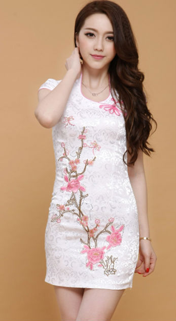 2014 FASHION CHINESE EMBROIDERY CULTIVATE BRIEF PARAGRAPH CHEONGSAM