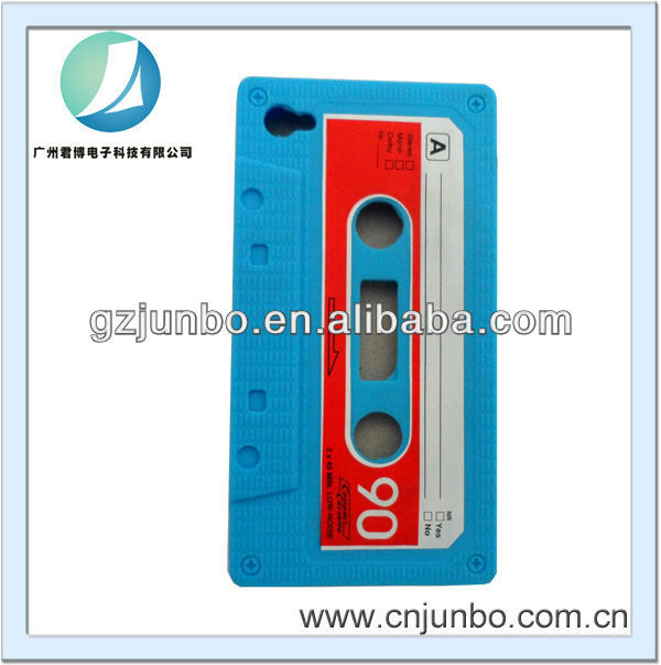 Cassette Tape Soft Silicone Case Back Cover Retro Vintage Audio Tape Skin for iphone 4/4s