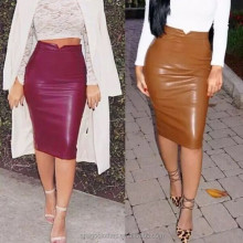Amigo 2017 new design wine red normal midi leather dress slit tight pencil skirt for OL ladies wholesale