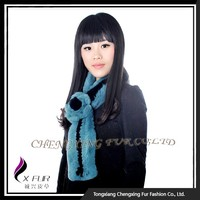CX-S-165D Hot Selling Real Rex Rabbit Fur Neck Scarf