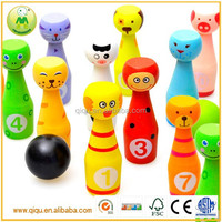 Chindren Educational Cute Animal Colorful Wooden Bowling Set Toy