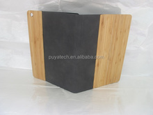 OEM factory price and high quality flip wooden leather case bamboo leather case for ipad mini