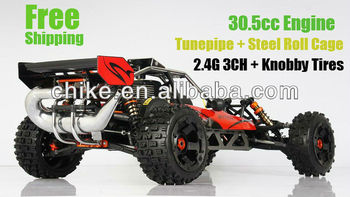 **Special**30.5cc rc Baja ss + Alloy steel cage + Tunepipe + Knobby Tires with 2.4G 3CH LCD transmitter RTR 1/5 RC CAR
