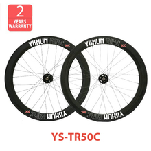 2014 YISHUNBIKE Super 50mm clincher 700c track bike carbon wheels chosen hubs carbon fixed grear wheelset