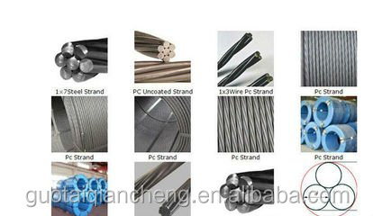 Steel Wire Ropes and unbonded prestressed steel strand or PC strand with diameter 1.5 to 60mm