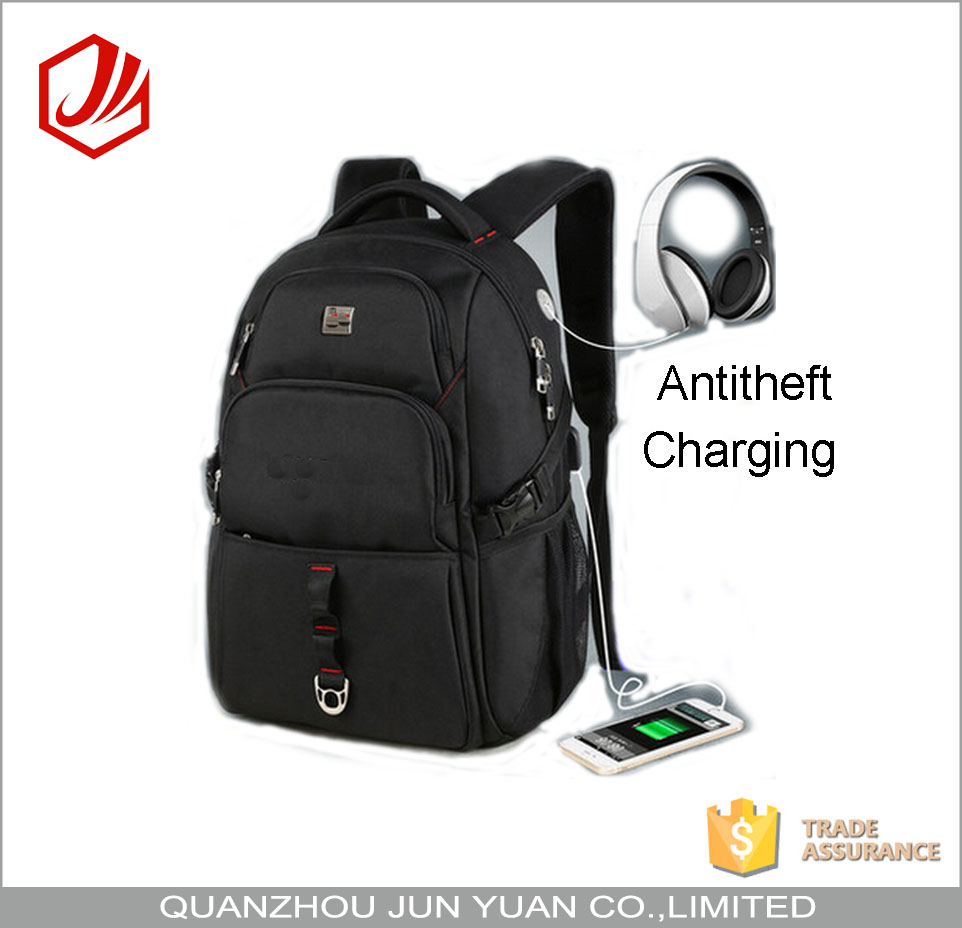 Nylon Antitheft Waterproof Laptop Backpack With USB Port